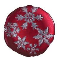 Vietri - Snowflake Salad Plate - Red