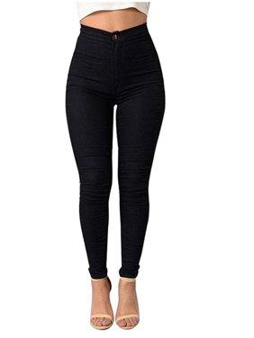 Women's High Waist Stretch Denim Skinny Leggings Jegging Pencil Pants