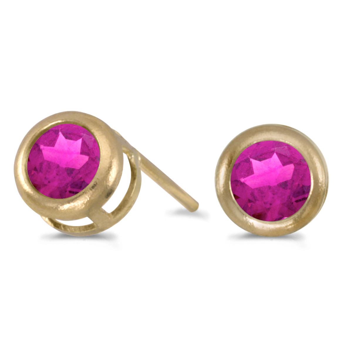 14k Yellow Gold Round Pink Topaz Bezel Stud Earrings by