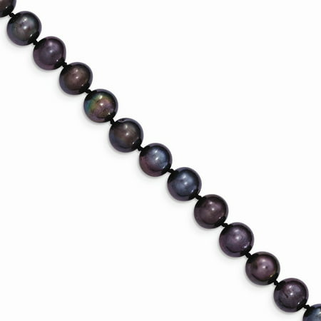 8-9mm, Black FW Cultured Pearl & 14k Yellow Gold Clasp Necklace