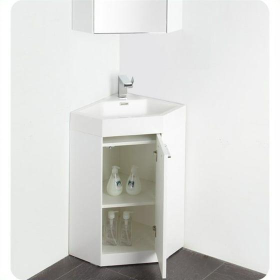 . Fresca Lucida 18   Single Coda Modern Corner Bathroom Vanity Set