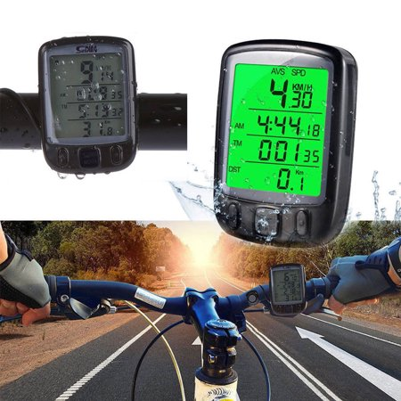 TSV Cycle Computer Waterproof Cycling Bike Bicycle Speedometer Odometer with Green Backlight LCD Display Multi Function for Cycling Black