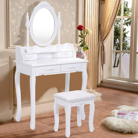 - Costway White Vanity Jewelry Makeup Dressing Table Set bathroom W/Stool 4 Drawer Mirror Wood Desk
