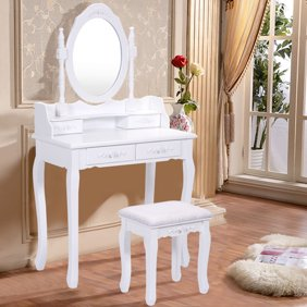 Super Roundhill Ashley Wood Make Up Vanity Table And Stool Set Cherry Ibusinesslaw Wood Chair Design Ideas Ibusinesslaworg