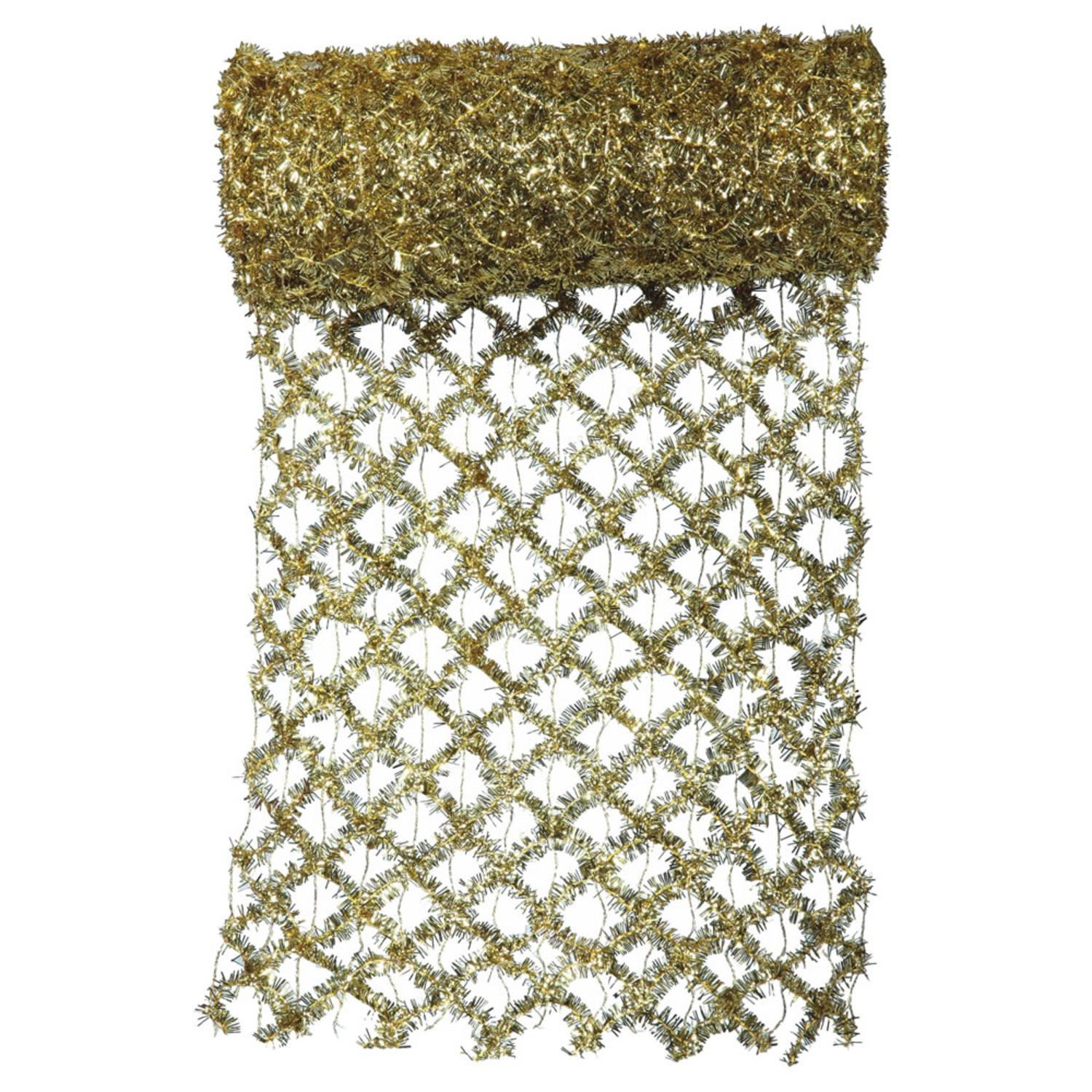 """30' x 12"""" Commercial Length Extra Wide Wired Mesh Gold Tinsel Garland Ribbon"""