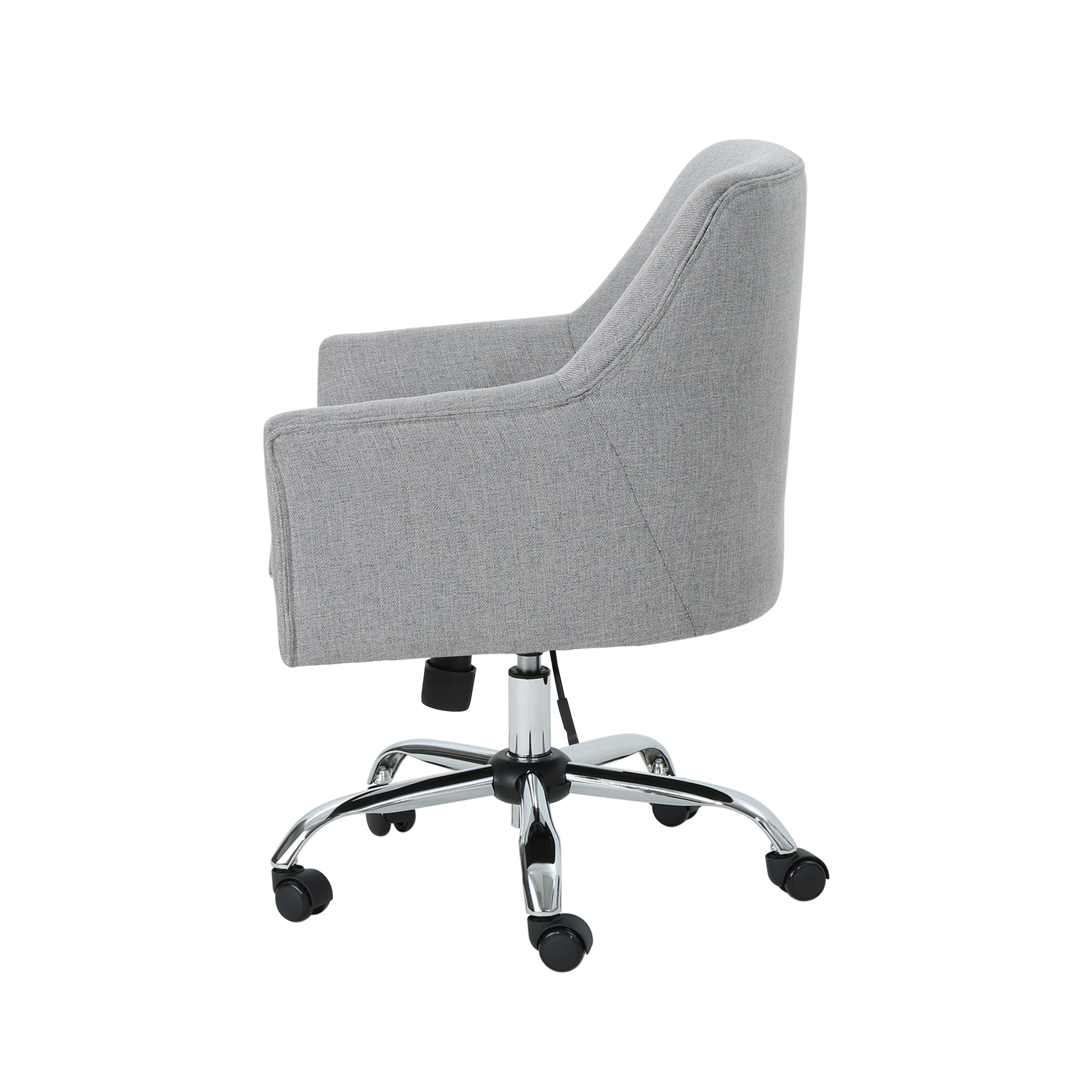 Noble House Dereka Mid Century Modern Fabric Home Office Chair With Chrome Base Gray Walmart Com Walmart Com