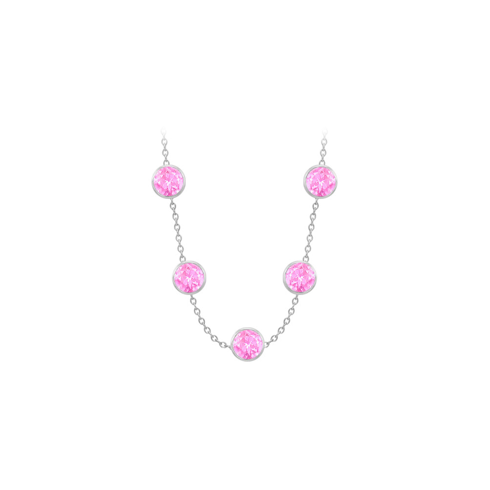 Created Pink Sapphires Necklace on 14K White Gold Bezel Set 75.00 ct.tw - image 1 of 1