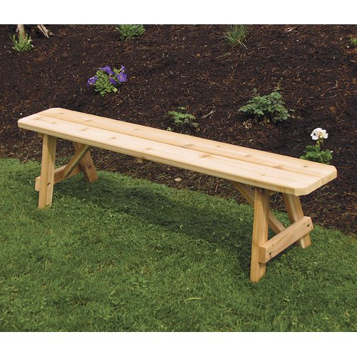 A & L Furniture Western Red Cedar Traditional Backless Bench