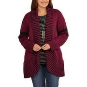 Women's Plus Size Rib Shawl Collar Flyaway Sweater