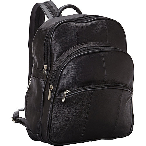 R & R Collections Leather Triple Zip Around Large Backpack
