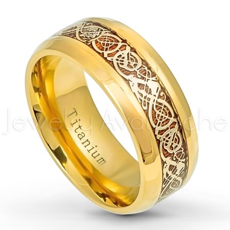 9mm Yellow Gold Plated Titanium Ring Comfort Fit Titanium Wedding Band with Celtic Dragon Inlay - TM564s7