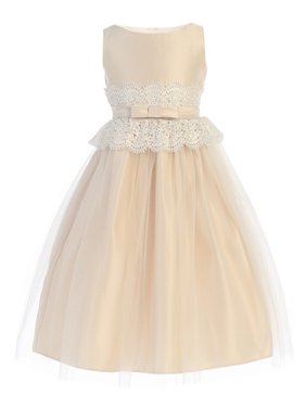 Little Girls Champagne Lace Satin Tulle Pearl Flower Girl Dress
