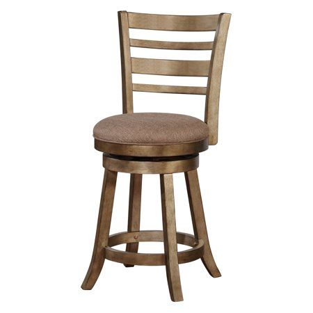 Linon Southern Wood Swivel Counter Stool, Brown, 24 inch Seat Height