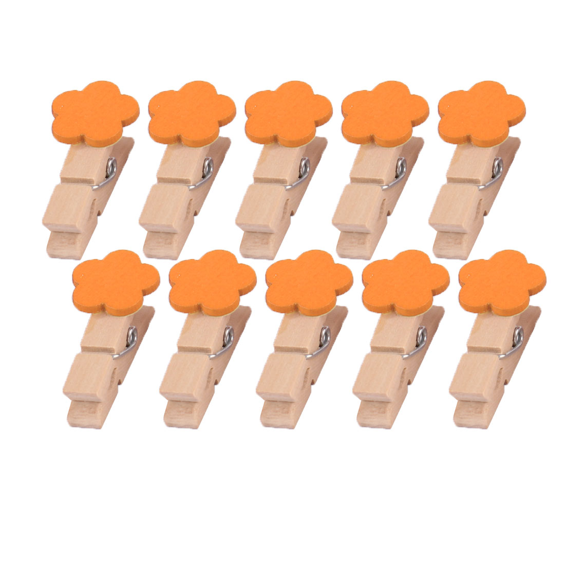 Home Wooden Flower Shaped DIY Craft Photo Picture Card Hanging Clip Orange 10pcs