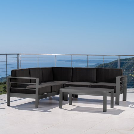 Miller Outdoor Aluminum 4 Piece V-Shape Sectional Sofa Set with Cushions, Grey, Dark Grey