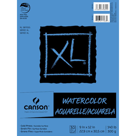 "Canson XL 9"" x 12"" 30 sheet Fold Over Watercolor Pad, 1 Each"