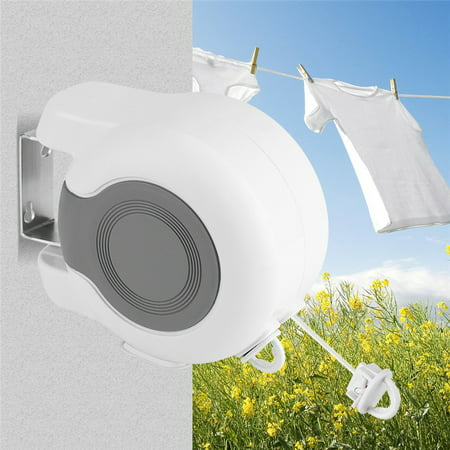 EECOO 13m Retractable Clothes Line,Wall-Mounted Retractable Double Clothes Drying Line Indoor Outdoor Washing Landry