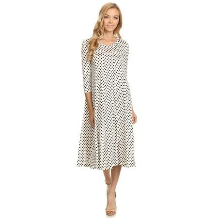 Women's trendy style, polka dot print  midi dress.