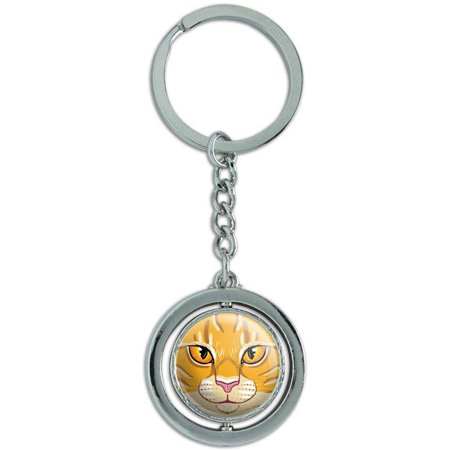 Orange Tabby Cat Face Pet Kitty Spinning Round Metal Key Chain Keychain (Round Faced Cats)