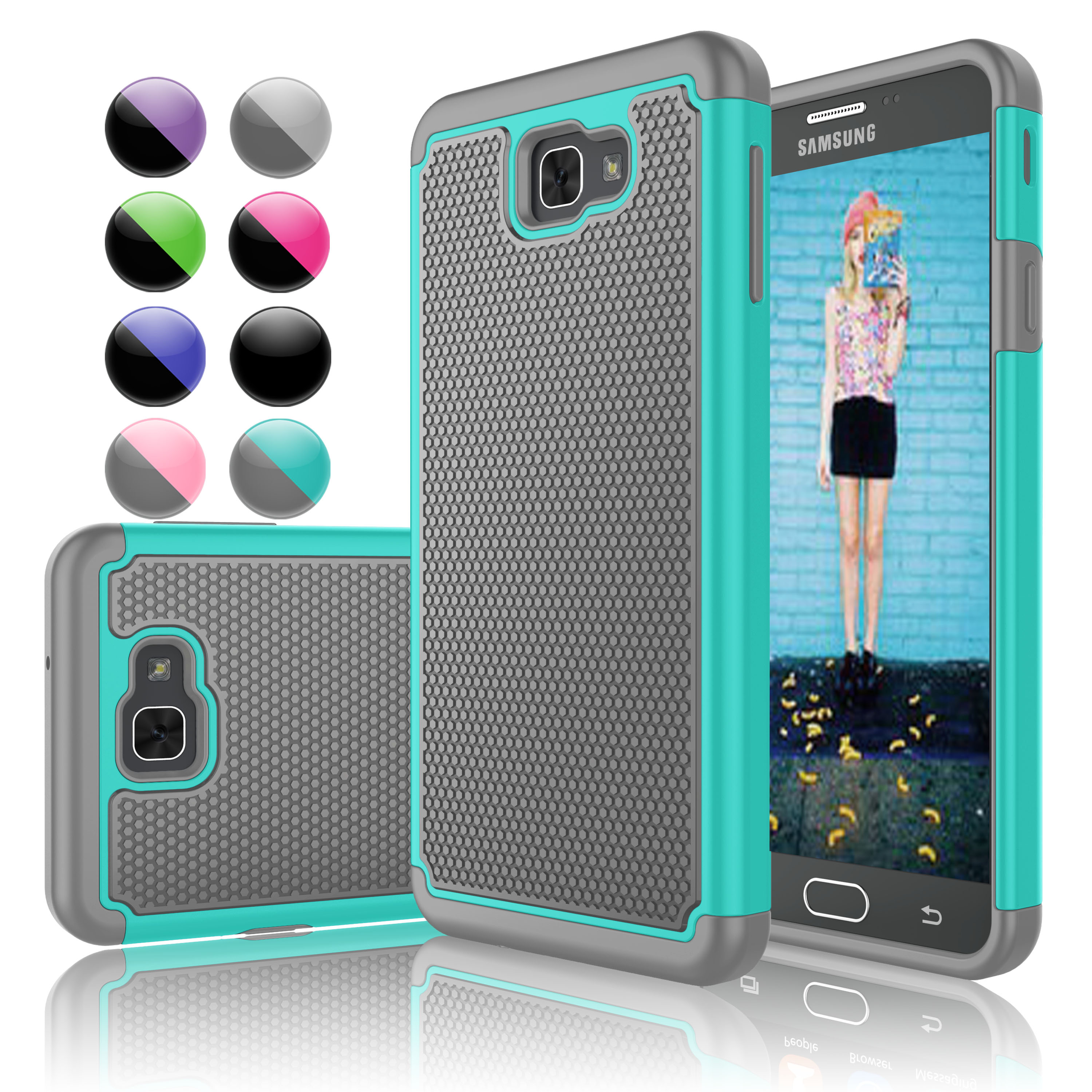 Galaxy Halo Case,Galaxy J7 Perx Case,Galaxy J7 Sky Pro Case, Njjex [Turquoise] Shock Absorbing Plastic Scratch Resistant Hard Cover Cases For Samsung Galaxy J7 V / J7V / J7 2017