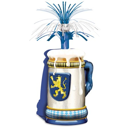Pack of 12 Blue, Gold and White Oktoberfest Mug Centerpiece 15
