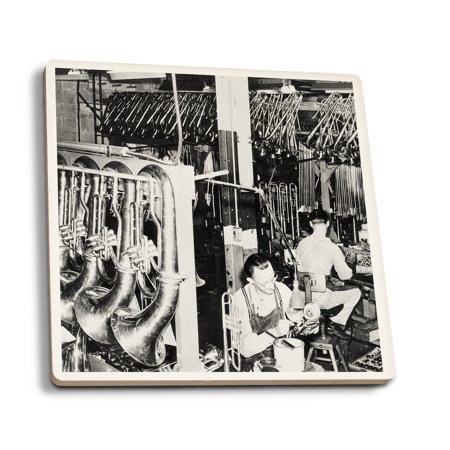 Interior View of a Brass Instrument Factory, Tubas and Trombone - Vintage Photograph (Set of 4 Ceramic Coasters - Cork-backed, - Vintage Brass Instruments