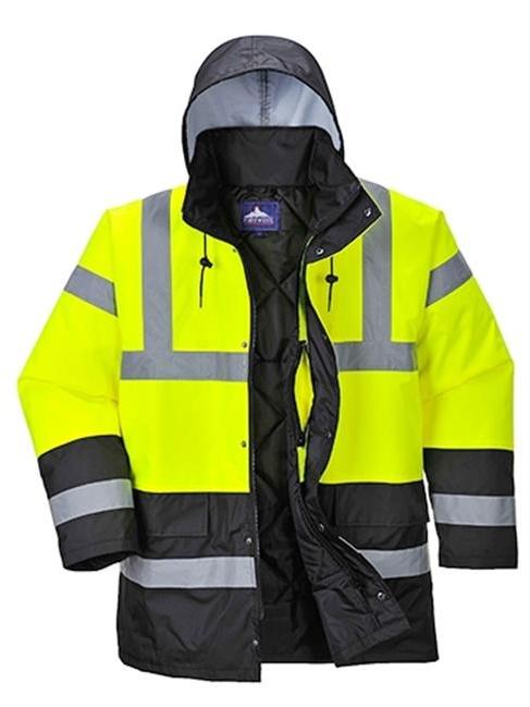 Portwest US466 Extra Large Hi-Visibility Contrast Traffic Jacket, Yellow & Black - Regular