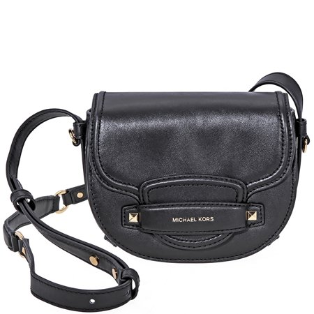 Michael Kors Cary Small Leather Saddle Bag- Black