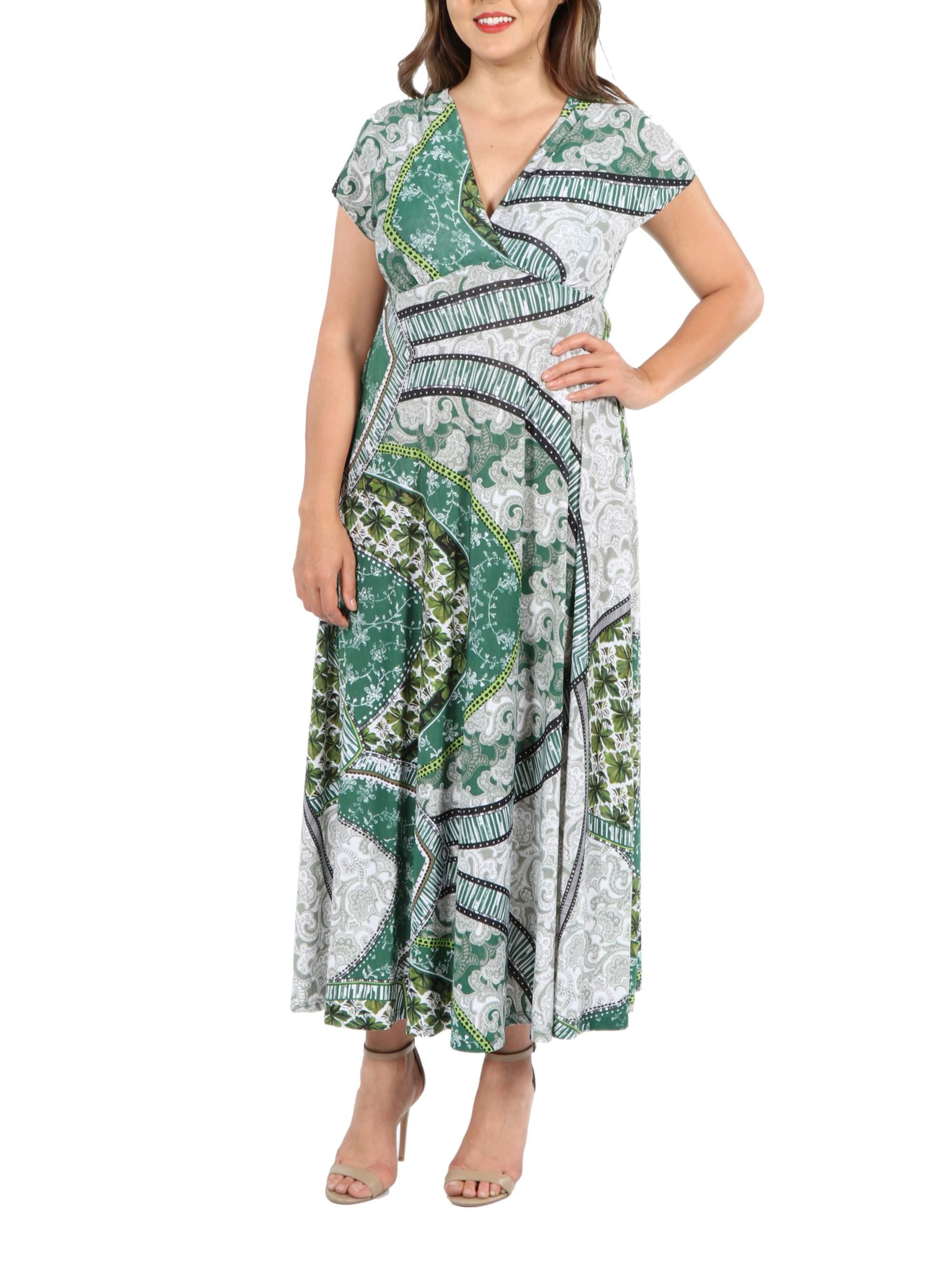 24Seven Comfort Apparel Lena Short Sleeve Green Print Empire Waist Plus Size Maxi Dress