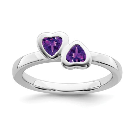 Roy Rose Jewelry Sterling Silver Stackable Expressions Amethyst Double Heart Ring Size