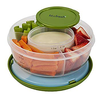 Fruit and Veggie Bowl with Removable Ice Pack, Reusable BPA-Free Container with 4 Food Storage Compartments, Healthy On-the-Go Snack