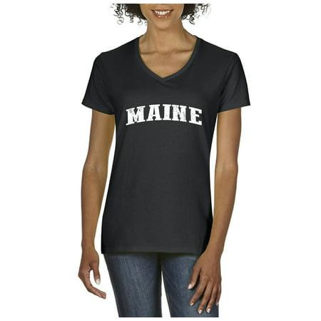 Me Maine Map Portland Augusto Flag Black Bears Home University Of Maine  Womens V Neck T Shirt Tee Clothes