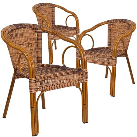 Lancaster Home Cadiz Series Rattan Restaurant Patio Chair with Bamboo-Aluminum Frame (Pack of 3) ()