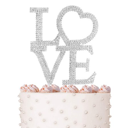 Bridal Wedding Party Crystal - Love Cake Topper, Marriage, Wedding Vow, Anniversary, Bridal Shower Crystal Rhinestones on Silver Metal, Party Decorations, Favors