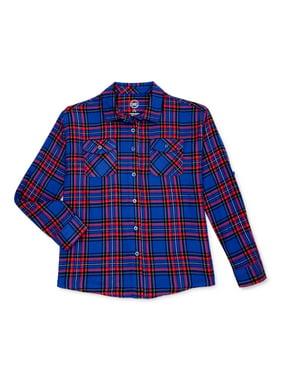 Wonder Nation Girls 4-18 & Plus Long Sleeve Flannel Button Down Shirt
