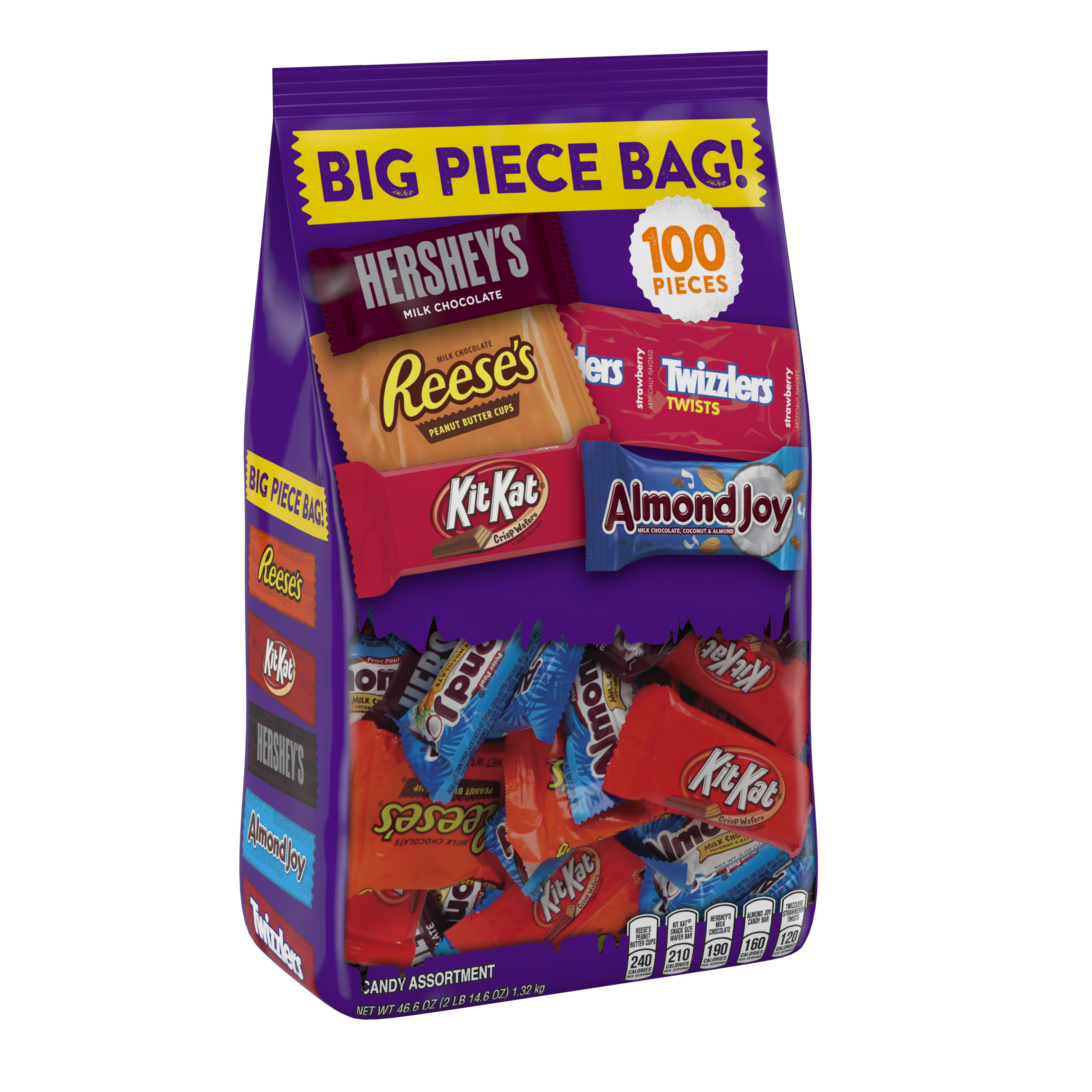 Hershey's Big Piece Bag Candy Assortment Hershey's, Reese's, Twizzlers, Kit Kat & Almond Joy, 100 ct, 46.6 oz