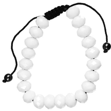 White Glass Beaded Shamballa Bracelet - White Beaded Bracelet
