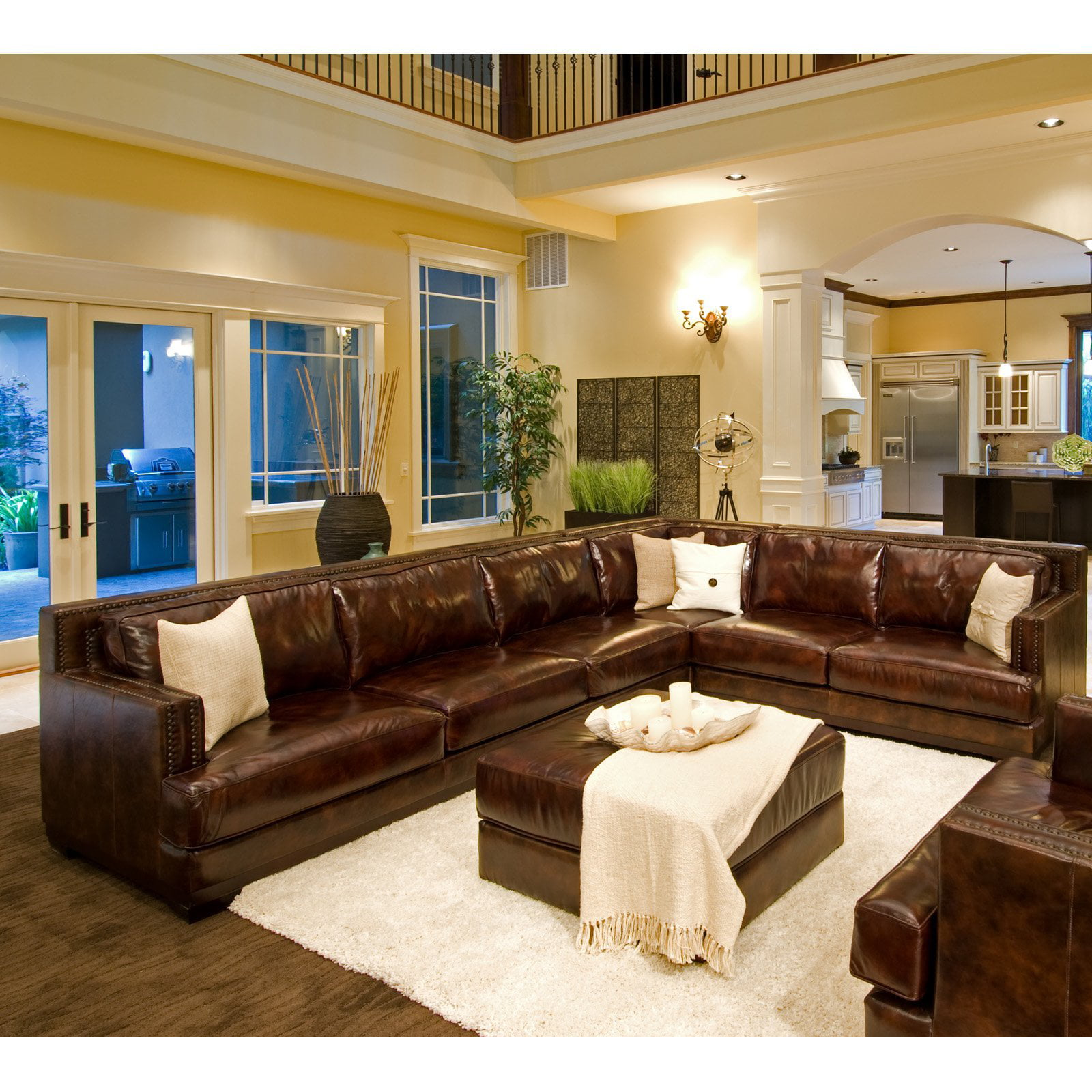 top grain leather sectional Easton Top Grain Leather Sectional and Ottoman in Saddle Color  top grain leather sectional