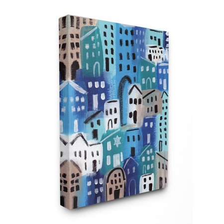 The Stupell Home Decor Collection Painterly Blue Abstract Cityscape in Shades of Blue Stretched Canvas Wall Art, 30 x 40
