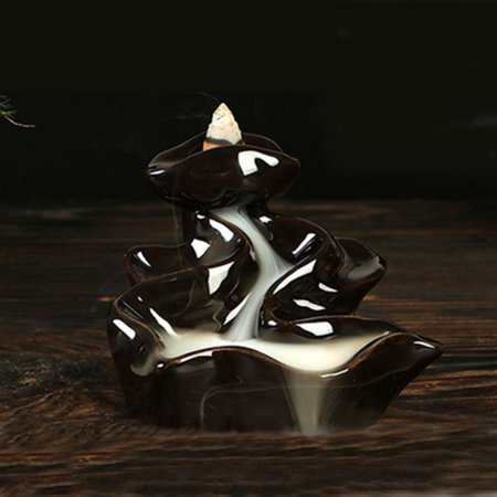 Black Porcelain Backflow Ceramic Cone Incense Burner Holder Buddhist Cones 9cm