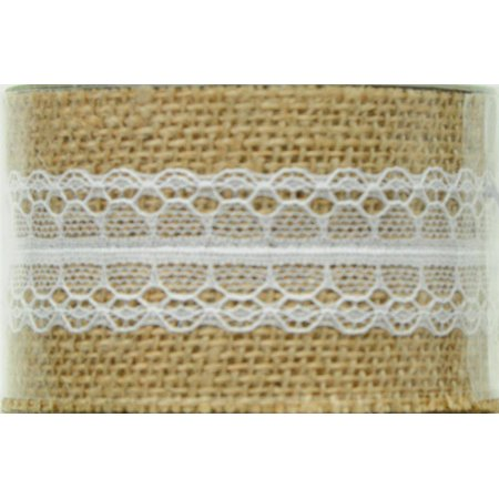 OFFRAY RIBBON 2 INCHES BURLAP WITH CENTER LACE BEIGE 3 YARDS