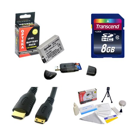 Transcend 8GB SDHC Class 10 Memory Card and Opteka LP-E8 LPE8 2000mAh Battery Package for Canon EOS Rebel T2i T3i T4i T5i 550D 600D 650D 700D Kiss X4 X5 X6 X6i X7i DSLR Digital (Best Memory Card For Canon 700d)