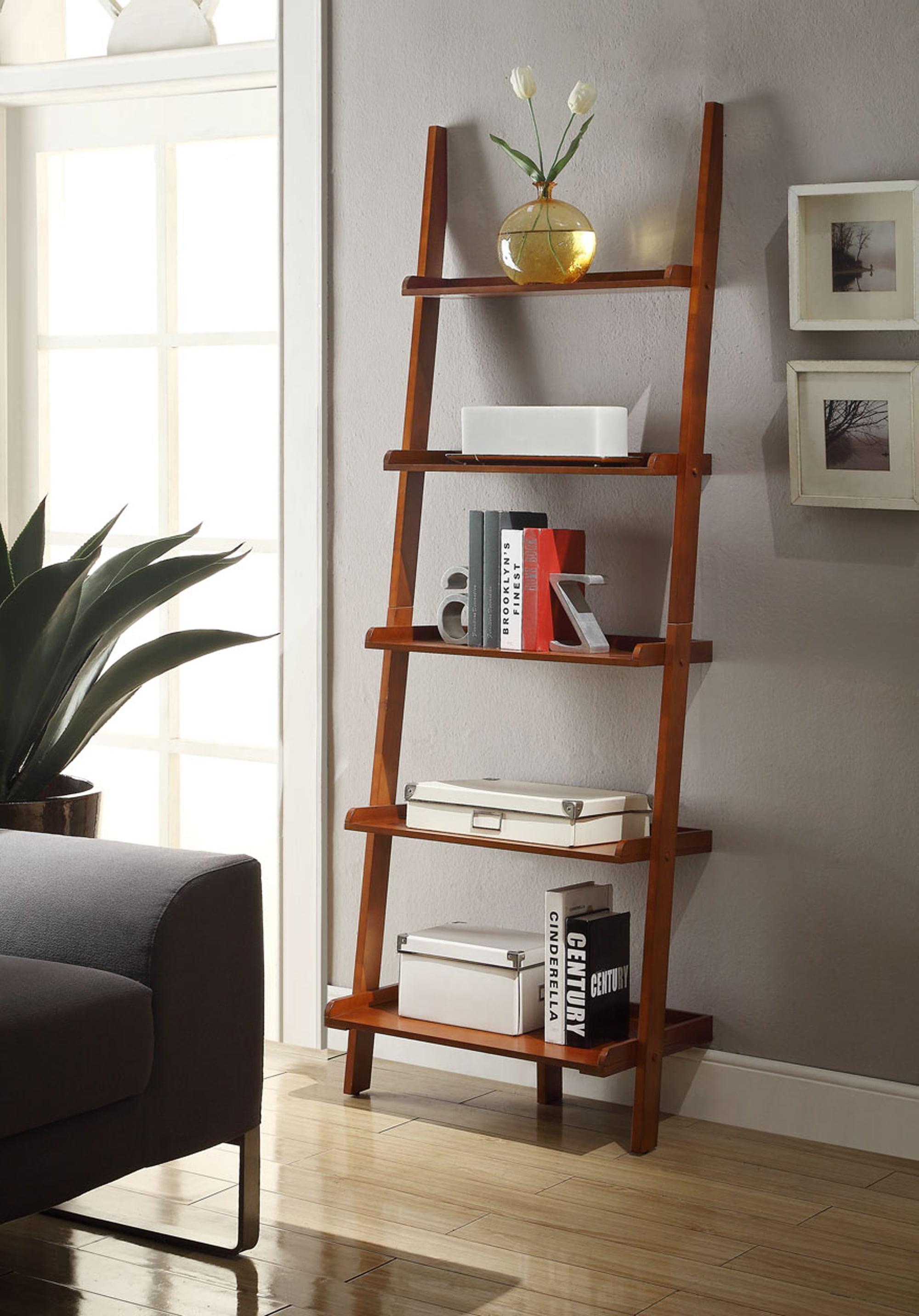 Cherry Finish Leaning Ladder Bookcase 5 Tier Open Design Display Home Bookshelf Ebay