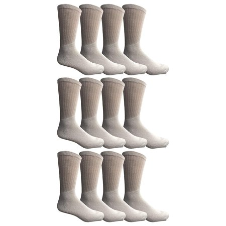 12 Pairs of WSD Mens Cotton Crew Socks, Solid, Athletic Sports Socks, Valuepack (White) ()