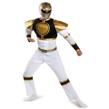 Mighty Morphin Power Rangers: White Ranger Muscle Adult Costume - Mighty Morphin Power Rangers Costumes For Adults