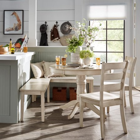 Weston Home Lexington 5-Piece Breakfast Nook Dining Set, Round Table, Antique White Breakfast Nook Dining Table