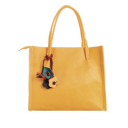 Woman Textured Leather Floral Decor Zip Closure Satchel Yellow