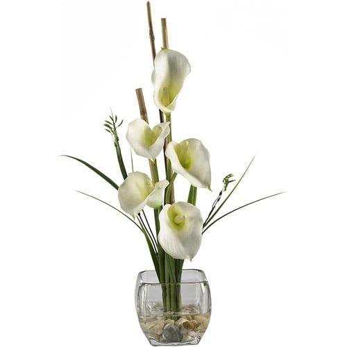 Nearly Natural Calla Lilly Liquid Illusion Silk Flower Arrangement, Cream