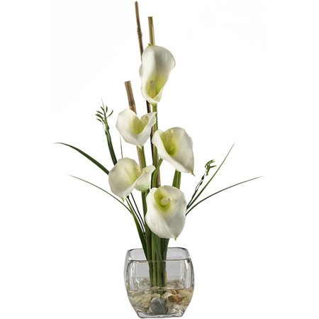 Calla Lilly Liquid Illusion Silk Flower Arrangement, Cream