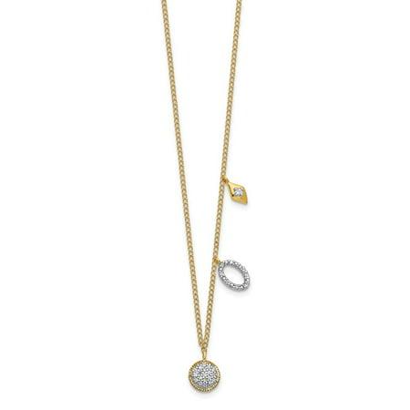 KIOKORI 14K Yellow Gold Diamond Circles Necklace 1/10-Carat